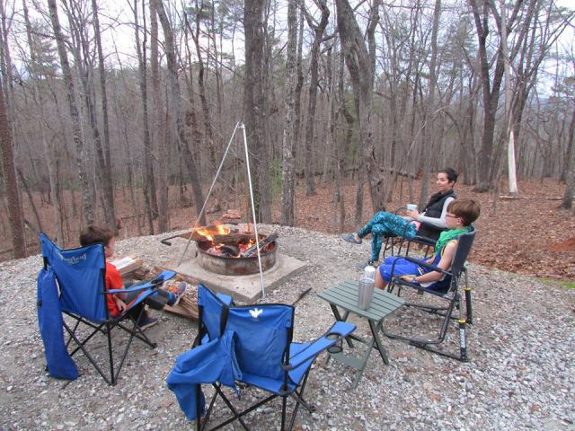Sitting around campfire - The Family Glampers