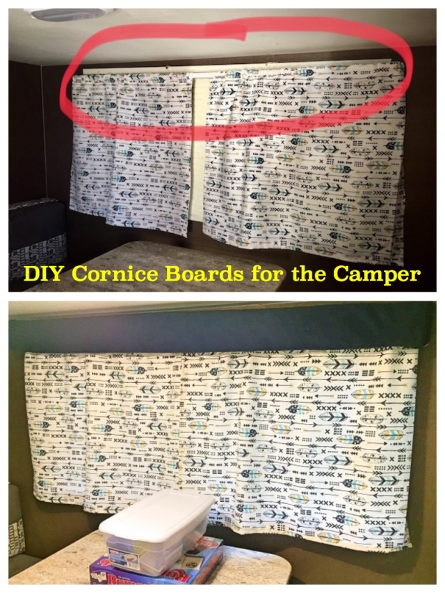 Camper Cornice Board Before and After - The Family Glampers