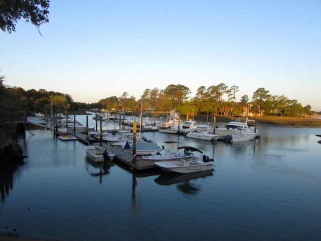 Hilton Head Harbor boats at dawn - Only Southern Made
